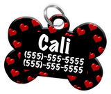 Heart Pattern Dog Tag for Pets Personalized Custom Pet Tag with Pets Name & Contact Number [Multiple Font Choices] [USA COMPANY] | ElitePetFan.com