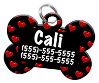 Heart Pattern Dog Tag for Pets Personalized Custom Pet Tag with Pets Name & Contact Number [Multiple Font Choices] [USA COMPANY]