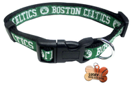 Boston Celtics Basketball Dog or Cat Collar with FREE Personalized Dog Tag for Pets with Name & Number [Multiple Collar Sizes Avl: S,M,L] - EliteFanCo