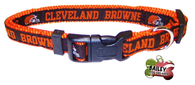 Cleveland Browns Football Pet Dog or Cat Collar with FREE Personalized ID Dog Tag with Name & Number [Multiple Collar Sizes Avl: S,M,L] - EliteFanCo