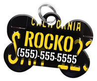 California - Dog Tag for Pets Vintage License Plate Personalized Custom Pet Tag with Pets Name & Contact Number [Multiple Font Choices] [USA COMPANY]