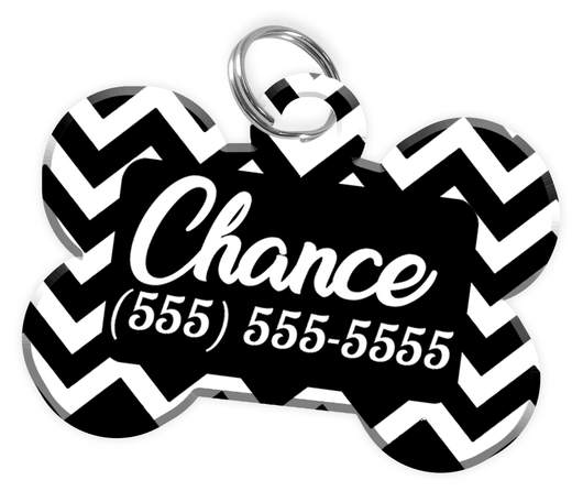 Chevron (Black) Dog Tag for Pets Personalized Custom Pet Tag with Pets Name & Contact Number [Multiple Font Choices] [USA COMPANY] | ElitePetFan.com