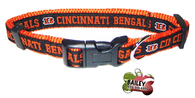 Cincinnati Bengals Football Pet Dog or Cat Collar with FREE Personalized ID Dog Tag with Name & Number [Multiple Collar Sizes Avl: S,M,L] - EliteFanCo