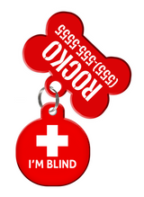 Special Attention Alert I'M BLIND Dog Tag for Pets with Personalized Custom Pet Tag with Pets Name & Contact Number (Blind Dogs) | ElitePetFan.com