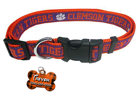 Clemson Tigers NCAA Pet Dog or Cat Collar with FREE Personalized ID Dog Tag with Name & Number [Multiple Collar Sizes Avl: S,M,L] - EliteFanCo