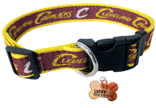 Cleveland Cavaliers Basketball Dog or Cat Collar with FREE Personalized Dog Tag for Pets with Name & Number [Multiple Collar Sizes Avl: S,M,L] | ElitePetFan.com