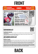 Emotional Support Animal ESA ID Package [Includes Physical Pet ID Wallet Card & Service Tag for Dog or Cat & Emailed Digital Copy] | ElitePetFan.com