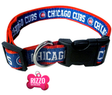 Chicago Cubs Baseball Dog or Cat Collar with FREE Personalized Dog Tag for Pets with Name & Number [Multiple Collar Sizes Avl: S,M,L] - EliteFanCo
