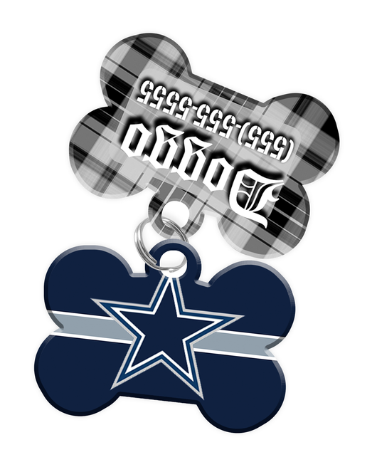 Dallas Cowboys NFL Dog ID Tag (2 Pack) for Pet - Custom Personalization with Pets Name & Contact Number [Multiple Font Choices] - EliteFanCo