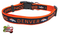 Denver Broncos Pet Dog or Cat Collar with FREE Personalized ID Dog Tag with Name & Number [Multiple Collar Sizes Avl: S,M,L] - EliteFanCo
