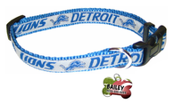 Detroit Lions Football Pet Dog or Cat Collar with FREE Personalized ID Dog Tag with Name & Number [Multiple Collar Sizes Avl: S,M,L] - EliteFanCo