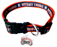 Detroit Tigers Baseball Dog or Cat Collar with FREE Personalized Dog Tag for Pets with Name & Number [Multiple Collar Sizes Avl: S,M,L] - EliteFanCo