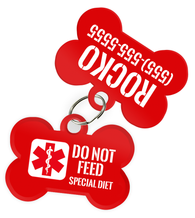 Special Attention Alert [Do Not Feed Dog] Dog Tag for Pets with Personalized Custom Pet Tag with Pets Name & Contact Number [Multiple Font Choices]