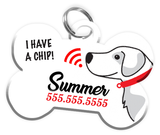 Microchipped Alert Dog Tag for Pets Personalized Custom Pet Tag with Pets Name & Contact Number [Multiple Font Choices] [USA COMPANY] | ElitePetFan.com