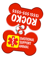 Emotional Support Animal Dog Tag for Pets with Personalized Custom Pet Tag with Pets Name & Contact Number [Multiple Font Choices] - EliteFanCo