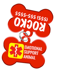 Emotional Support Animal Dog Tag for Pets with Personalized Custom Pet Tag with Pets Name & Contact Number [Multiple Font Choices] | ElitePetFan.com