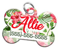 Flower Design Dog Tag for Pets Personalized Custom Pet Tag with Pets Name & Contact Number [Multiple Font Choices] [USA COMPANY]