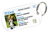 Utah Driver License Custom Pet ID Tags - Dog or Cat ID Tag - Personalized - US Company