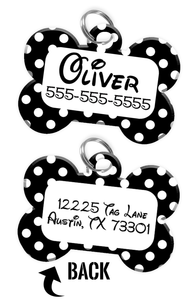 Double-sided Black & White Polka Dot Custom Dog Tag Personalized for Pets with Name & Number on the front & address on the back - Disney pet tag themed