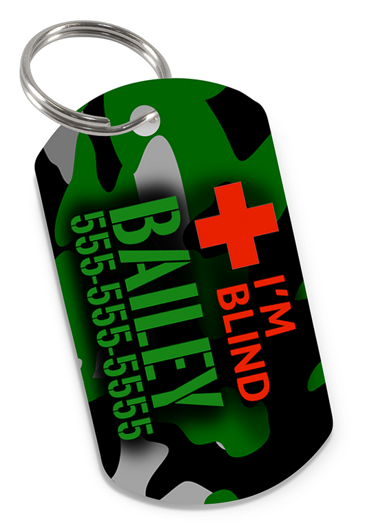 I'M BLIND Camo (Green) Dog Tag for Blind Dogs & Blind Cats Personalized Custom Pet Tag with Pets Name & Contact Number | ElitePetFan.com