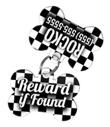 Checkered (Black & White) Dog Tag for Pets - Reward if Found Tag & Personalized Custom Pet Tag with Pets Name & Contact Number (Two Tags)