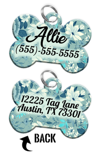 Double-sided Flower Custom Dog Tag Personalized for Pets with Name & Number on the front & address on the back