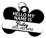 Name Tag (Black) Dog Tag for Pets Personalized Custom Pet Tag with Pets Name & Contact Number [Multiple Font Choices] [USA COMPANY]