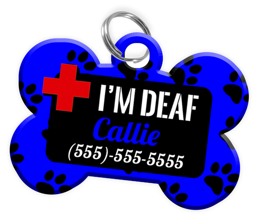 I'M DEAF (Blue) Alert Dog Tag for Deaf Dogs Personalized Pet Tag with Pets Name & Contact Number [Multiple Font Choices] [USA COMPANY] - EliteFanCo