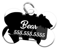 Bear Dog Tag for Pets Personalized Custom Pet Tag with Pets Name & Contact Number [Multiple Font Choices] [USA COMPANY]
