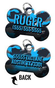 Double-sided Camo Blue Custom Dog Tag Personalized for Pets with Name & Number on the front & address on the back
