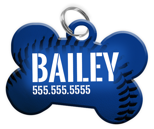 Baseball (Blue) Dog Tag for Pets Personalized Custom Pet Tag with Pets Name & Contact Number [Multiple Font Choices] [USA COMPANY] - EliteFanCo