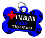 I'M BLIND (Blue) Alert Dog Tag for Blind Dogs Personalized Pet Tag with Pets Name & Contact Number [Multiple Font Choices] [USA COMPANY] - EliteFanCo