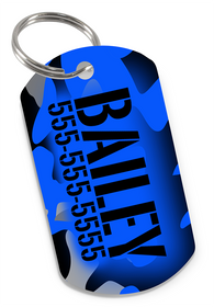 Camo (Blue) Dog Tag for Pets Personalized Custom Pet Tag with Pets Name & Contact Number [USA COMPANY] | ElitePetFan.com