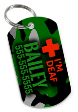 I'M DEAF Camo (Green) Dog Tag for Deaf Dogs & Deaf Cats Personalized Custom Pet Tag with Pets Name & Contact Number - EliteFanCo