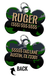 Double-sided Camo Green Custom Dog Tag Personalized for Pets with Name & Number on the front & address on the back