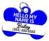 Name Tag (Blue) Dog Tag for Pets Personalized Custom Pet Tag with Pets Name & Contact Number [Multiple Font Choices] [USA COMPANY]