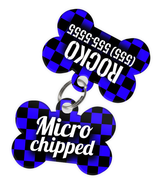 Checkered (Blue) Dog Tag for Pets - Microchipped Tag & Personalized Custom Pet Tag with Pets Name & Contact Number (Two Tags) - EliteFanCo