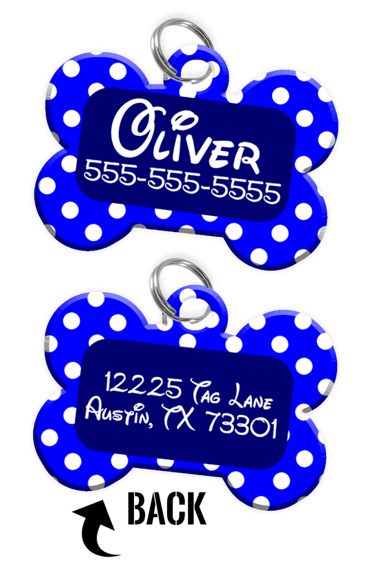 Double-sided Blue Polka Dot Custom Dog Tag Personalized for Pets with Name & Number on the front & address on the back (Disney pet tag themed) - EliteFanCo