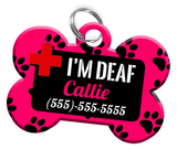I'M DEAF (Hot Pink) Alert Dog Tag for Deaf Dogs Personalized Pet Tag with Pets Name & Contact Number [Multiple Font Choices] [USA COMPANY] - EliteFanCo