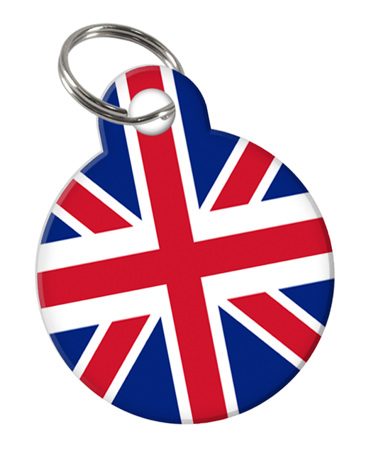 Great Britain Flag Custom double-sided Dog Tag for Pets or Cat Tag with Personalized Pets Name & Contact Number on the back - EliteFanCo
