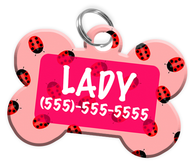 Ladybug Dog Tag for Pets Personalized Custom Pet Tag with Pets Name & Contact Number [Multiple Font Choices] [USA COMPANY]