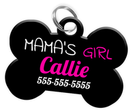 Mama's Girl Dog Tag for Pets Personalized Custom Pet Tag with Pets Name & Contact Number [Multiple Font Choices] [USA COMPANY] | ElitePetFan.com