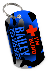I'M BLIND Camo (Blue) Dog Tag for Blind Dogs & Blind Cats Personalized Custom Pet Tag with Pets Name & Contact Number - EliteFanCo