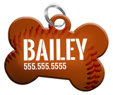 Baseball (Brown) Dog Tag for Pets Personalized Custom Pet Tag with Pets Name & Contact Number [Multiple Font Choices] [USA COMPANY] - EliteFanCo