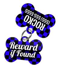 Checkered (Blue) Dog Tag for Pets - Reward if Found Tag & Personalized Custom Pet Tag with Pets Name & Contact Number (Two Tags) - EliteFanCo