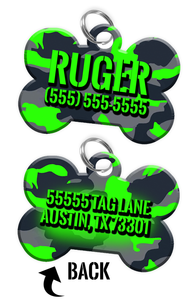 Double-sided Camo Light Green Custom Dog Tag Personalized for Pets with Name & Number on the front & address on the back | ElitePetFan.com
