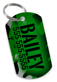 Camo (Green) Dog Tag for Pets Personalized Custom Pet Tag with Pets Name & Contact Number [USA COMPANY] | ElitePetFan.com