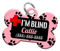 I'M BLIND (Light Pink) Alert Dog Tag for Blind Dogs Personalized Pet Tag with Pets Name & Contact Number [Multiple Font Choices] [USA COMPANY] - EliteFanCo