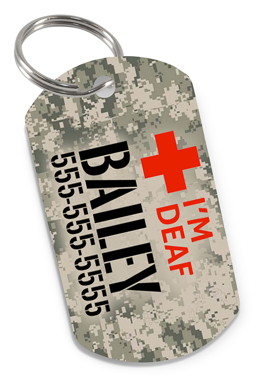 I'M DEAF Camo (Classic) Dog Tag for Deaf Dogs & Deaf Cats Personalized Custom Pet Tag with Pets Name & Contact Number - EliteFanCo