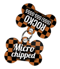 Checkered (Brown) Dog Tag for Pets - Microchipped Tag & Personalized Custom Pet Tag with Pets Name & Contact Number (Two Tags) - EliteFanCo